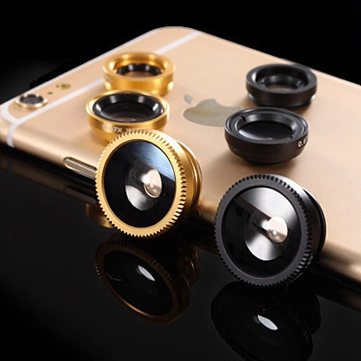 3 in 1 External Selfie Phone Lens Fish-Eye Ultra Wide Angle and Micro - Range